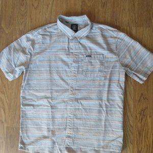 Volcom Boy's XL S/S Button Down Striped shirt